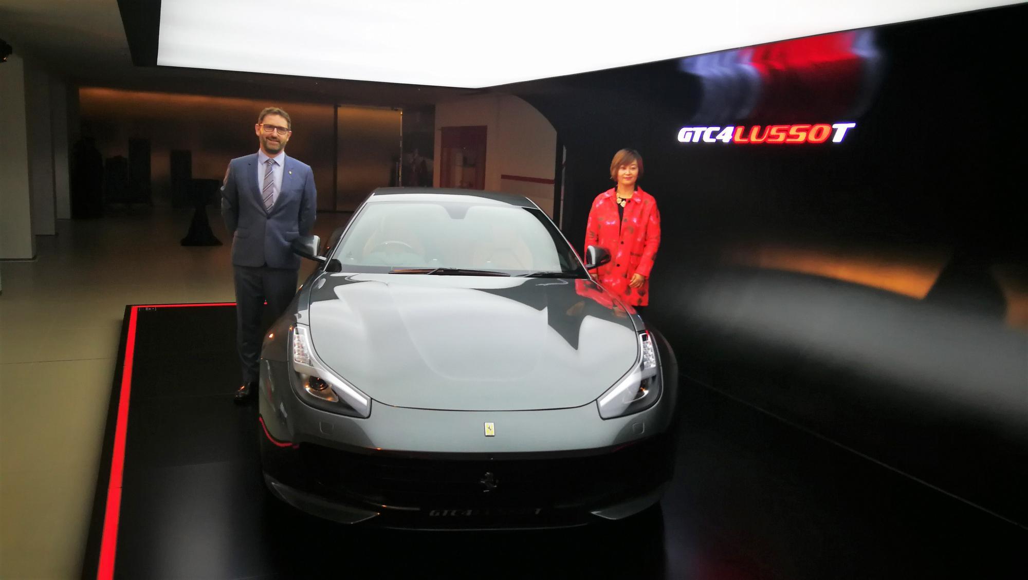 由Sales Director of Ferrari Greater China Angela Dong及General Brand Manager Jon Chester為GTC4 Lusso T揭幕。